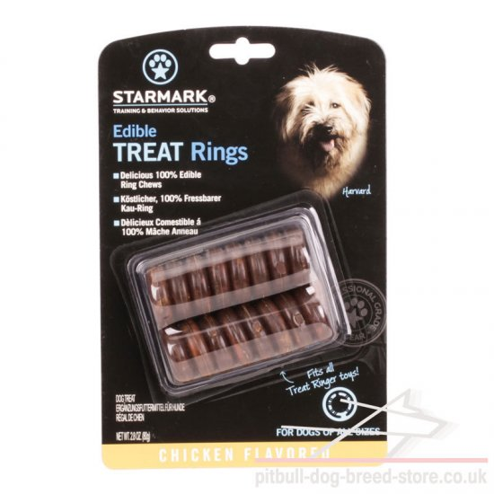 "Natural Dry Dog Food ""Edible Treat Rings"" with Chicken Flavor"