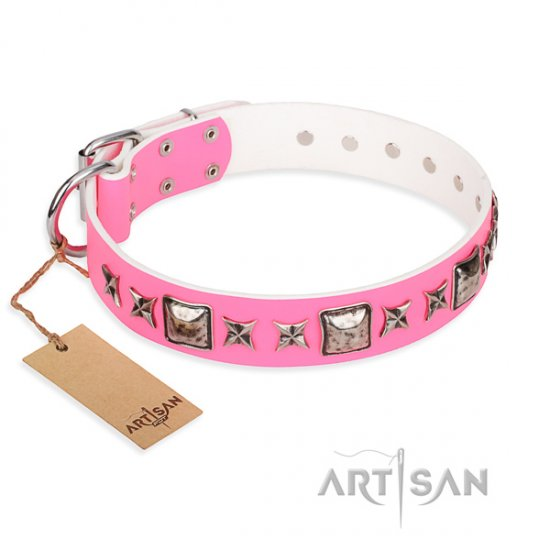 """Lady in Pink"" FDT Artisan Chic Dog Collar with Squares & Stars"