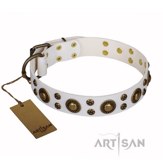 """White Gentle Feather"" FDT Artisan Staffy Exclusive Dog Collar"