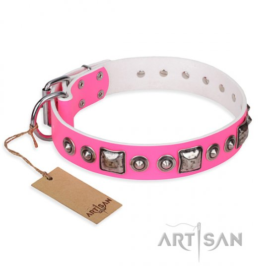 """Pink Dream"" FDT Artisan Leather Buckle Dog Collar for Pitbull"