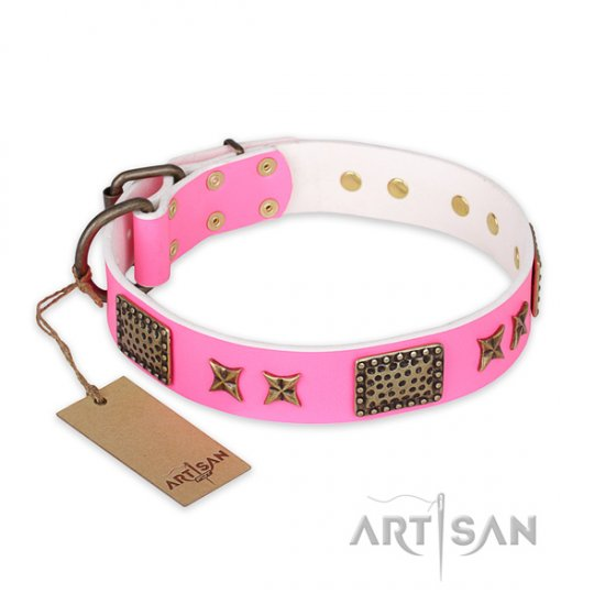 """Tender Pink"" FDT Artisan Leather Studded Dog Collar, 1.5"" Wide"