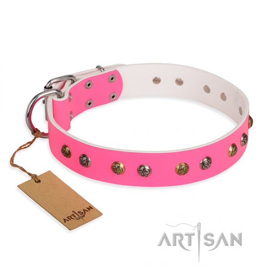 """Sheer Love"" FDT Artisan Pink Leather Dog Collar with Flowers"