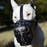 Leather Bull Terrier Muzzle Hand Painted with Barbwire Ornament