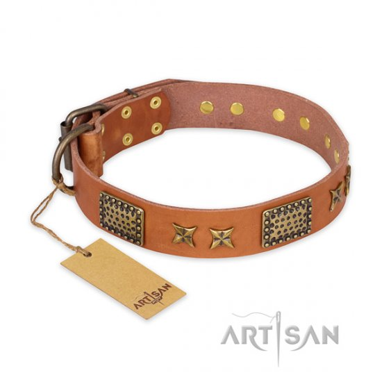 """Cosmic Traveller"" FDT Artisan Beige Leather Dog Collar, 1 1/2"""