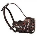 Handmade Leather Dog Muzzle with Barbwire Pattern for Pitbull