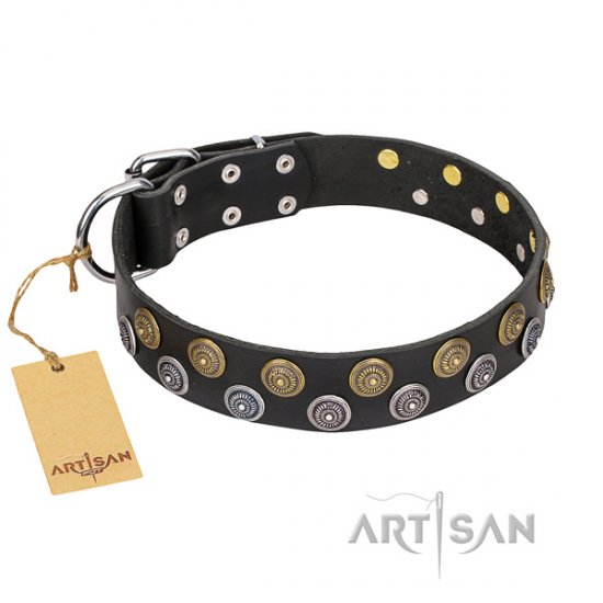 """Romantic Breeze"" FDT Artisan Hypnotic Black Leather Dog Collar"