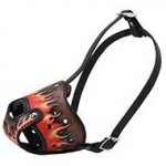 Pitbull Muzzle UK with Flame Shapes, Handmade, Hand Painted