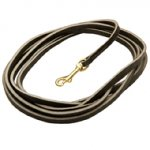 Extra Long Dog Lead of Pure Leather, 2/5 Inch Wide
