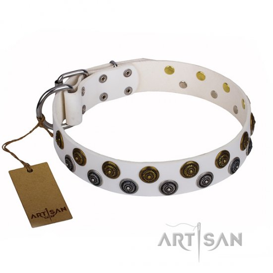 """Snowflake"" FDT Artisan Sparkle Dog Collar of White Leather"