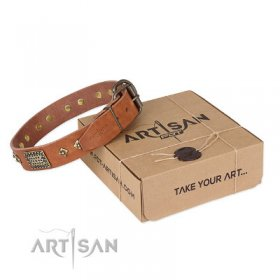 "Leather Dog Collar for Pitbull ""Catchy Look"" Artisan"