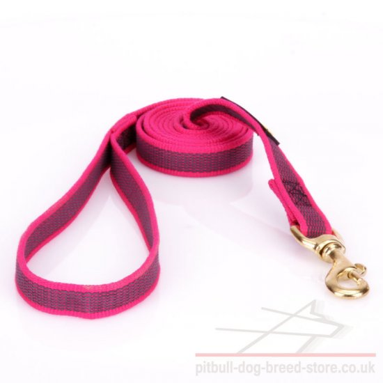 Pitbull Dog Lead of Pink Nylon with Non-Slip Rubber Threads - Click Image to Close