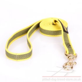 Strong Leash for Pitbull of Non-Slip Rubberized Yellow Nylon