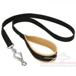 Nylon Dog Leash with Leather Padding on the Handle for Pitbull