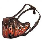 "Designer Dog Muzzle for Pitbull, Hand Painted ""Flame"" Pattern"