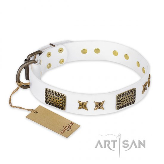 """Hour of Triumph"" FDT Artisan White Leather Dog Collar, 1.5"" - Click Image to Close"