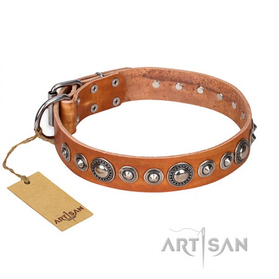 """Daily Chic"" FDT Artisan Necklace Dog Collar of Tan Leather"
