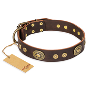 """One-of-a-Kind"" FDT Artisan Brown 1.5 inch Leather Dog Collar"