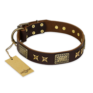 """Sparkling Bronze"" FDT Artisan 1.5 inch Leather Dog Collar"