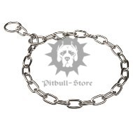 Pitbull Choke Chain Collar, Short Links, CHROME PLATED STEEL