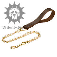 Chain Dog Lead with Soft Leather Handle