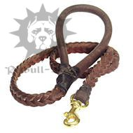New Handcrafted Braided Leather Dog Lead, round brown