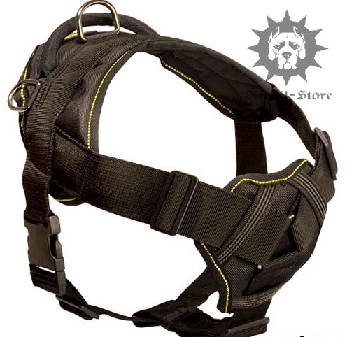 how to put on a nylon dog harness