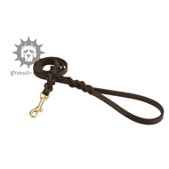 Braided Decoration Leather Dog Lead with Snap Hook