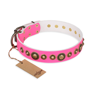 """Pink Gloss"" FDT Artisan Cute Dog Collar with Brass Circles"