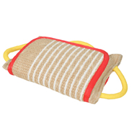 Dog Bite Pad with 3 Handles and Jute Cover for Pitbull, Staffy