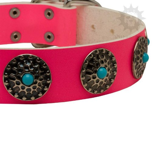 Pink Leather Collar for Large Dog