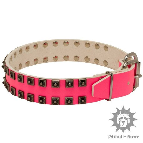 Pink Leather Dog Collar for Large Dogs