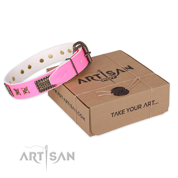 Pink Leather Studded Dog Collar