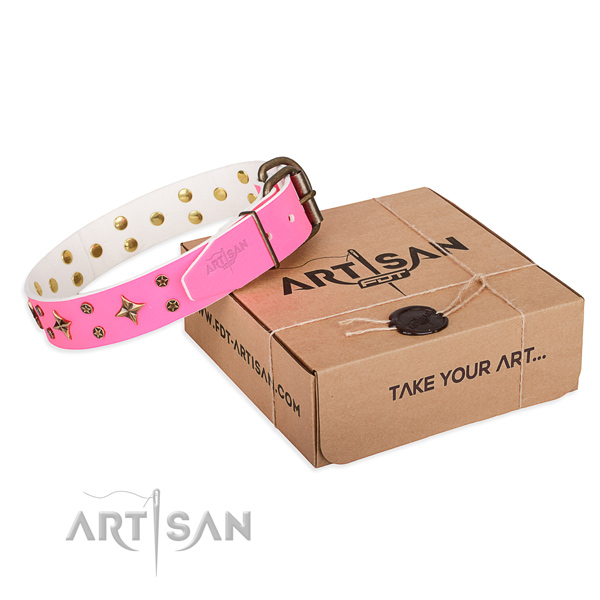 Pink Studded Dog Collar