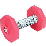 Dog Dumbbell UK with Red Weight Plates and Covered Bar, 1.4 Lbs