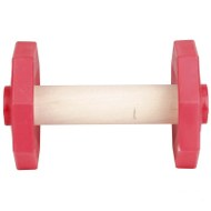 Dog Dumbbell of Wood and Red Plastic for Basic Training, 650 G
