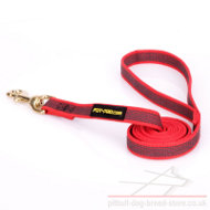 Dog Leash for Pitbull of Rubberized Non-Slip Red Nylon
