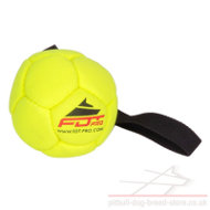Durable Pitbull Dog Toy Yellow Ball with Handle