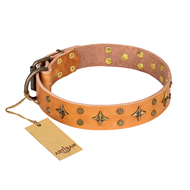 """Top-Flight"" FDT Artisan Tan Leather Elegant Dog Collar"