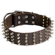 Sparkling Extra Wide Dog Collar with 4 Rows of Spikes