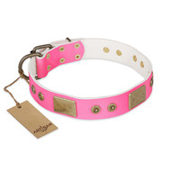 "Girl Dog Collar for Pitbull ""Pink World"" FDT Artisan"
