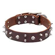 Hard Rock Dog Collar Leather with Skulls and Two Rows of Spikes