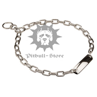 Pitbull Chain Collar, Fur Saver with Name Plate, Width 3/5""
