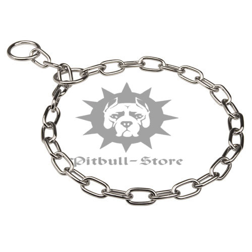 Pitbull Choker Collar with Short Links, CHROME PLATED STEEL