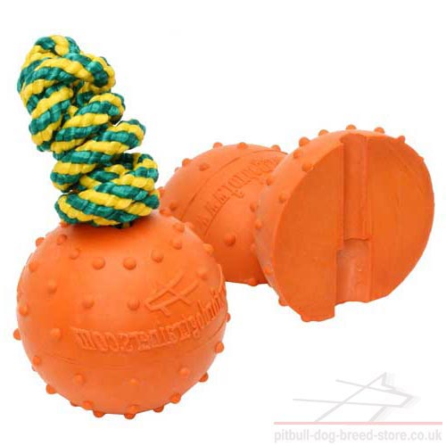 Durable Dog Toy Ball on Rope for Pitbull and Staffy, 3""