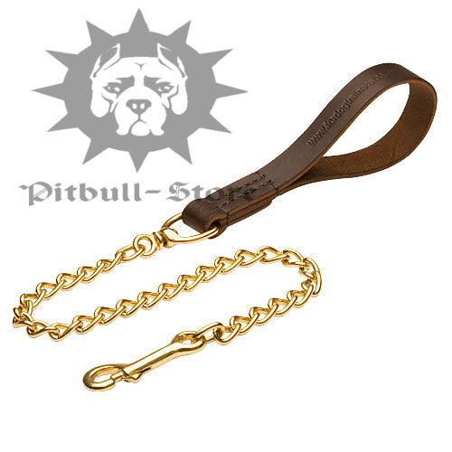 Chain Dog Lead with Leather Handle