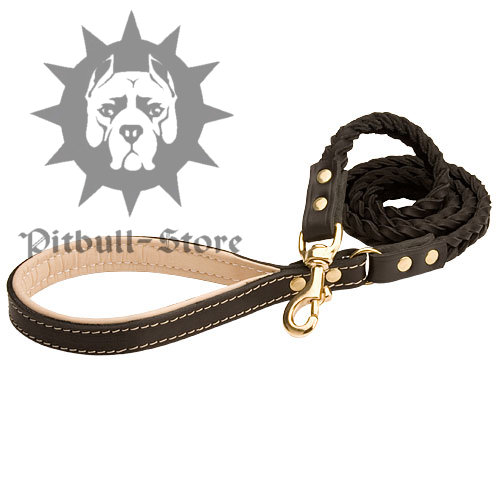 Handcrafted Braided Leather Pitbull Leash with Handle