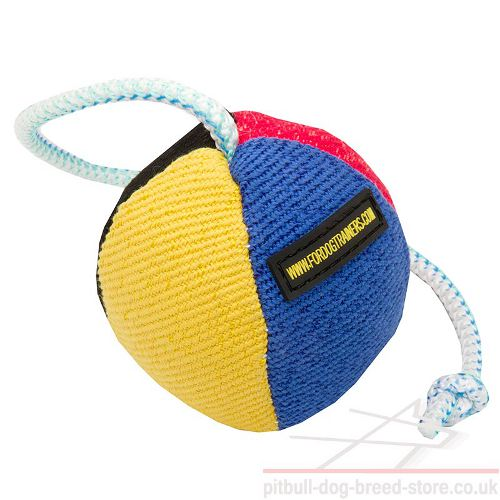Soft Dog Ball of French Linen on String for Staffy Puppy, 3.5""