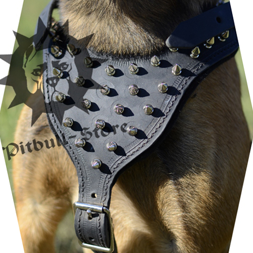 Soft Dog Harness with Sparkling Spikes for Amstaff