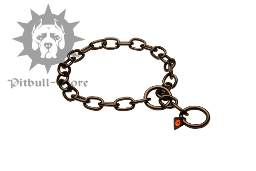 Black Stainless Steel Chain Collar, Fur Saver for Staffy