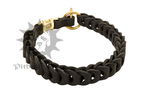 Leather Choke Collar of Braided Design for Staffy & Pitbull
